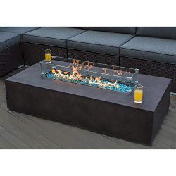COSIEST Outdoor Propane Fire Pit Table 56-inch x 28-inch Rectangle Bronze Compact Concrete-Like  ...