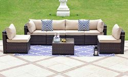 Gotland 7-Piece Outdoor Rattan Sectional Sofa Wide Armrest Patio Wicker Furniture Set(Brown),wit ...