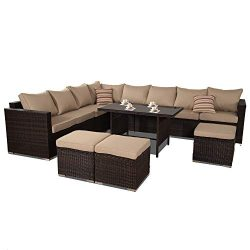 JETIME Patio Furniture Outdoor Conversation Set 9pcs Garden Seating Outside Couch Brown PE Wicke ...