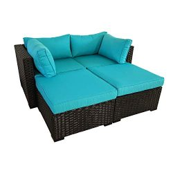 Outdoor PE Rattan Furniture 4 Piece Patio Wicker Sectional Sofa Chair Set Garden Couch Turquoise ...