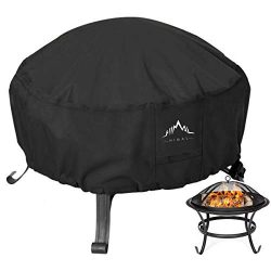 Himal Outdoors Fire Pit Cover- Heavy Duty Waterproof 600D Polyster with Thick PVC Coating, Round ...