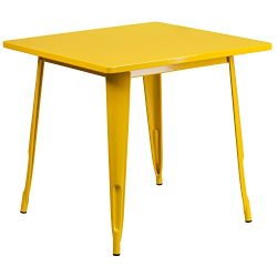 "Flash Furniture 31.5"" Square Yellow Metal Indoor-Outdoor Table"