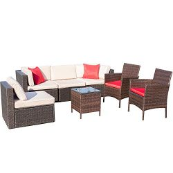 VICTONE 7 Pieces Patio Furniture Sets All-Weather Sectional Sofa Wicker Rattan Patio Conversatio ...
