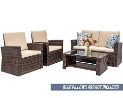 4 Pieces Outdoor Patio Furniture Sets Sectional Sofa Rattan Chair Wicker Conversation Set Outdoo ...