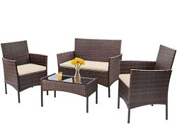 Patio Furniture Set 4 Piece Outdoor Wicker Sofas Rattan Chair Wicker Conversation Set Coffee Tab ...