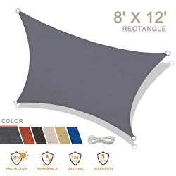 iCOVER 8′ X 12′ Charcoal Sun Shade Sail Rectangle Canopy, 185 GSM Fabric Permeable P ...