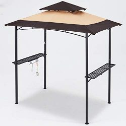 MASTERCANOPY Grill Gazebo 8 x 5 Double Tiered Outdoor BBQ Gazebo Canopy with LED Light (Brown St ...
