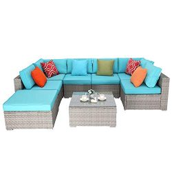 Do4U 8 Pieces Patio Furniture Set Outdoor Sectional Sofa Outdoor Furniture Set Patio Sofa Set Co ...
