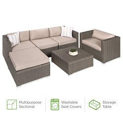 Best Choice Products 6-Piece Outdoor Wicker Patio Sectional Conversation Set w/Storage Table, 2  ...