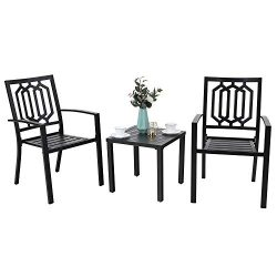 MF STUDIO Classical Steel Patio Bistro Set,3 Piece Outdoor Furniture with 2 Chairs and 1 x Coffe ...