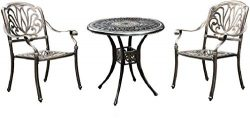 USSerenaY 3 Piece Cast Aluminum Bistro Set Outdoor Bistro Table Set Patio Furniture Sets with 2  ...