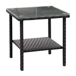 VALITA Outdoor Wicker Glass Top Side Table – Patio Rattan Square End Table with Storage, Black