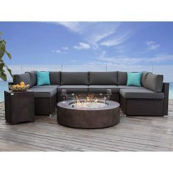 COSIEST 8 Piece Propane Firepit Table Wicker Sectional Sofa,Chocolate Brown Patio Set w 42-inch  ...
