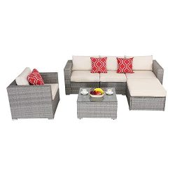 Do4U Patio Furniture Set 6-Piece Outdoor Lawn Backyard Poolside All Weather PE Wicker Rattan Ste ...