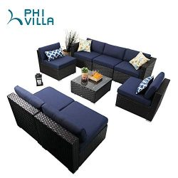 PHI VILLA Patio Furniture Set Outdoor Rattan Sectional Sofa with Tea Table (8 Piece, Blue)