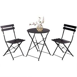 Grand patio Bistro Set 3 Piece Outdoor Weather-Resistant Furniture Sets Steel Folding Round Tabl ...