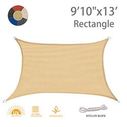 "AXT SHADE 9'10"" x 13′ Rectangle Sun Shade Sail UV Block for Outdoor Patio Gard ..."