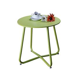 Grand patio Round Metal Side/End Table, Steel Patio Coffee Table for Bistro, Porch, Weather Resi ...