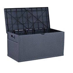 GDY 120 Gallon Patio Storage Deck Box Outdoor Storage Plastic Bench Box,Resin Wicker Storage Con ...