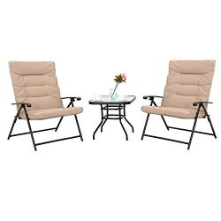 Sophia & William Padded Folding Bistro Set 3 PCS Adjustable Patio Reclining Lounge Chairs Ou ...