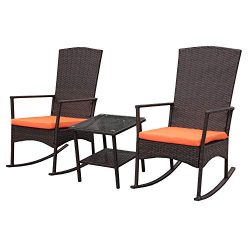Rattaner Outdoor 3 Piece Wicker Rocking Chair Set Patio Bistro Set Conversation Furniture -2 Roc ...