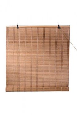 TJ Global Bamboo Roll Up Window Blind Sun Shade, Light Filtering Roller Shades (48″ x 84&# ...