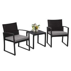SUNCROWN Outdoor Furniture 3 Piece Patio Bistro Set Black Wicker Chairs and Glass Top Coffee Tab ...