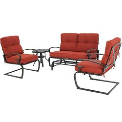 Oakmont Outdoor Furniture Patio Conversation Set Glider Loveseat, 2 Chairs with Coffee Table Spr ...