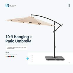 WUFF Bluu 10ft Patio Offset Umbrella Cantilever Umbrella Hanging Market Umbrella Outdoor Umbrell ...