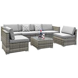 YITA HOME 7 Piece Outdoor Patio Furniture Sets, Garden Conversation Wicker Sofa Set, and Patio S ...