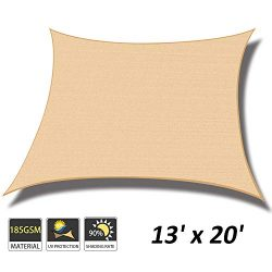 Cool Area 13′ x 20′ Rectangle Sun Shade Sail for Patio Garden Outdoor, UV Block Cano ...