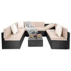 PAMAPIC 9 Pieces Patio Furniture,Outdoor Rattan Sectional Sofa Conversation Set with Tea Table  ...
