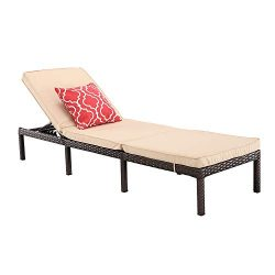 Do4U Outdoor Patio Adjustable Chaise Lounge Chairs Brown Wicker for Pool, Patio, Deck or Yard (B ...