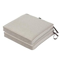 Classic Accessories Montlake FadeSafe Patio Seat Cushion, 2-Pack, Heather Grey, 20″W x 20& ...