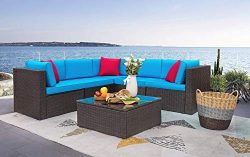 Homall 6 Pieces Patio Furniture Sets Outdoor Sectional Sofa All Weather PE Rattan Patio Conversa ...