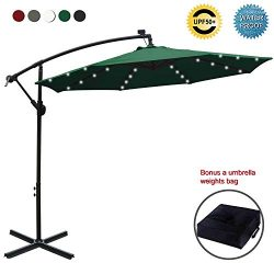 ABCCANOPY 10 FT Solar Powered LED Patio Outdoor Umbrella Hanging Umbrella Cantilever Umbrella Of ...