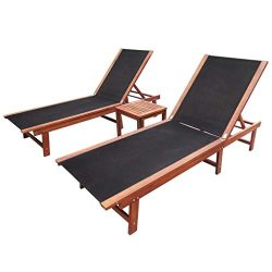 Tidyard Set of 2 Outdoor Patio Wood Chaise Lounge Chairs with Side Table, Sun Lounger Set Acacia ...