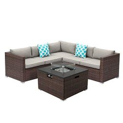 Outdoor 4 Piece Sectional Sofa Propane Fire Pit, Dark Brown Patio Furniture Set w 32-inch 40,000 ...