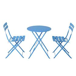 VINGLI Steel Patio Bistro Set, 3 Piece Folding Outdoor Patio Furniture Sets, Folding Patio Round ...