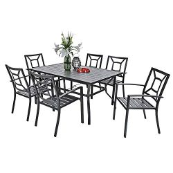 PHI VILLA Metal 7 Piece Patio Rectangular Table and Armrest Bistro Chairs Dining Set with Umbrel ...