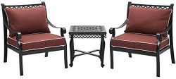 Crosley Furniture KO70063BK-SG Palermo 3-Piece Outdoor Aluminum Conversation Set with Sangria Cu ...