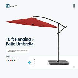 WUFF Bluu 10ft Patio Offset Umbrella Cantilever Umbrella Hanging Market Umbrella Outdoor Umbrell ...