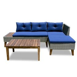 Patio Furniture Set – 3 Piece Outdoor Sectional Sofa Manual Weaving Wicker Rattan Patio Co ...