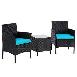 BonusAll 3 Pieces Patio Bistro Set Outdoor Furniture Sets Black Wicker Patio Chairs with Coffee  ...
