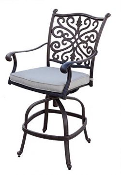 AC HOME & PATIO Cast Aluminum (Set of 6) Counter Height Swivel Bar Stools Cushions, Antique  ...