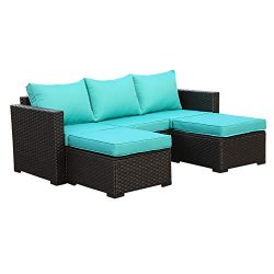 Outdoor PE Wicker Sofa Set – 3 Piece Patio Rattan Garden Conversation Couch Furniture with ...