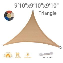 "AXT SHADE 9'10"" x 9'10"" x 9'10"" Triangle Sun Shade Sail UV B ..."