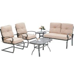 Incbruce 5Pcs Outdoor Indoor Patio Furniture Conversation Sets Loveseat and Spring Motion Chairs ...