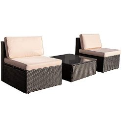 VICTONE 3 Pieces Patio Furniture Sets All-Weather Sectional Sofa Wicker Rattan Patio Conversatio ...