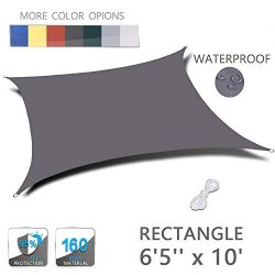"LOVE STORY 6'5"" x 10′ Rectangle Dark Grey Waterproof Sun Shade Sail Perfect fo ..."